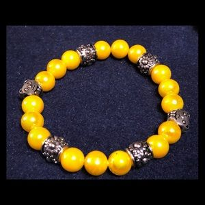 Homemade Bracelet with silver panda bears